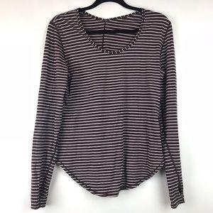 Lululemon Maroon Striped Long Sleeve Shirt